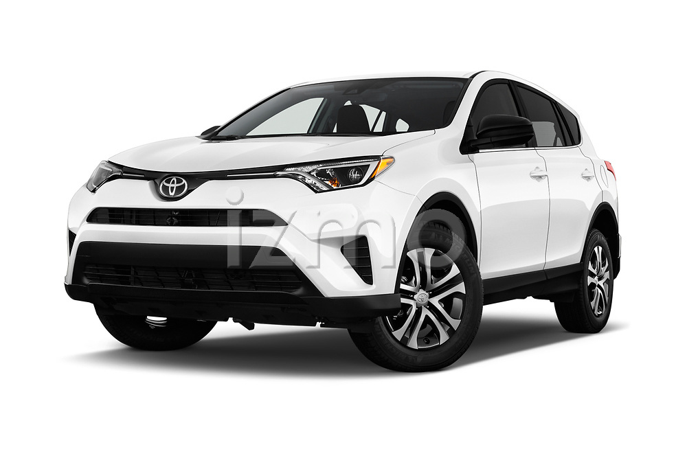 Stock pictures of low aggressive front three quarter view of a 2018 Toyota RAV4 LE 5 Door SUV