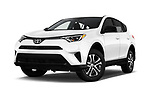 Stock pictures of low aggressive front three quarter view of a 2017 Toyota RAV4 LE 5 Door SUV