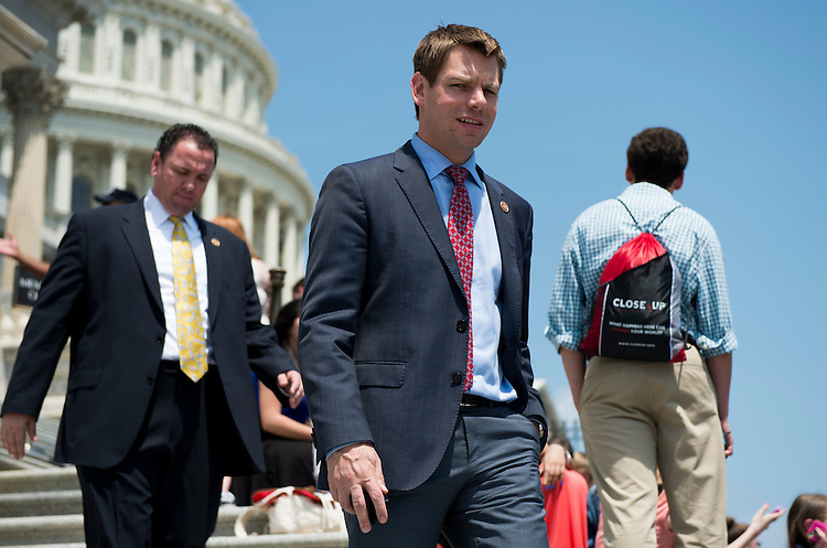 UNITED STATES - MAY 22: Rep. Eric Swalwell, D-Calif., walks down the House steps following a vote on Thursday, may 22, 2014. (Photo By Bill Clark/CQ Roll Call)