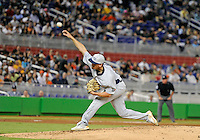 Florida International University right handed pitcher Christian Malbrough (26) plays against the Miami Marlins, which won the game 5-1 on March 7, 2012 at Miami, Florida. .