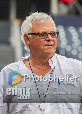 23 July 2016: Washington Nationals Vice President and Senior Advisor to the General Manager Bob Boone watches batting practice prior to a game against the San Diego Padres at Nationals Park in Washington, DC. The Nationals defeated the Padres 3-2 on a Stephen Drew pinch-hit, walk-off triple in the bottom of the 9th inning to tie their series at one game apiece. Mandatory Credit: Ed Wolfstein Photo *** RAW (NEF) Image File Available ***