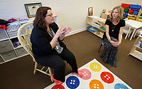 NWA Democrat-Gazette/DAVID GOTTSCHALK Candice Sisemore (left), owner and lead preschool teacher, and Melissa Graham, director speak Thursday, January 4, 2017, in the Preschool classroom at Teeny Tiny Preschool in Fayetteville. Classes return Monday from the Christmas break at the school that opened in October. The program for children 18 months to 5 years old moved into the former Willow Heights Community building at 10 S. Willow Avenue and takes influence from the Reggio Emilia and Montessori pedagogies.
