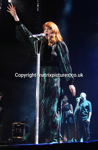 NON-EXCLUSIVE PICTURE: MATRIXPICTURES.CO.UK.PLEASE CREDIT ALL USES..WORLD RIGHTS..Singer-songwriter Florence Welch of English indie pop group Florence And The Machine is pictured performing at a live concert at the Liverpool Echo Arena...DECEMBER 10th 2012..REF: IRF 125865