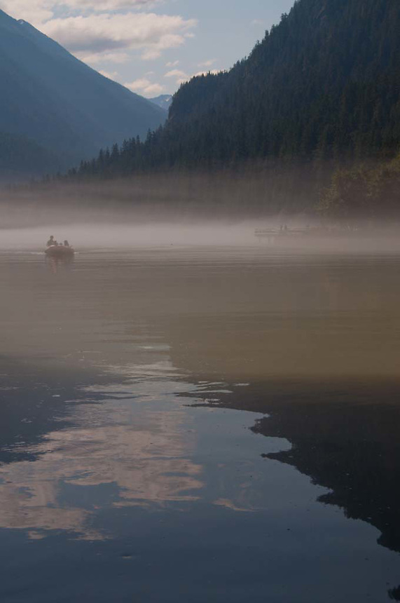 Boating in the Mist on Diablo Lake, North Cascades National Park, Washington, US