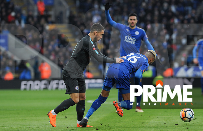 Eden Hazard of Chelsea fouls Riyad Mahrez of Leicester City during the FA Cup QF match between Leicester City and Chelsea at the King Power Stadium, Leicester, England on 18 March 2018. Photo by Stephen Buckley / PRiME Media Images.