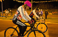 31 MAR 2015 - IPSWICH, GBR - Charlie-Jane Herbert (left) waits to start her next drill during an Ipswich Cycle Speedway Club training session at Whitton Sports and Community Centre in Ipswich, Great Britain (PHOTO COPYRIGHT © 2015 NIGEL FARROW, ALL RIGHTS RESERVED)