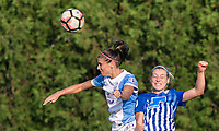 Boston, MA - Saturday August 19, 2017: Alex Morgan, Megan Oyster during a regular season National Women's Soccer League (NWSL) match between the Boston Breakers (blue) and the Orlando Pride (white/light blue) at Jordan Field. Orlando Pride defeated Boston Breakers, 2-1.