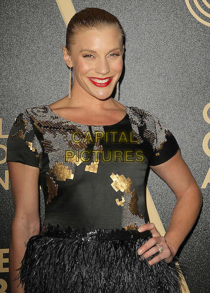 Katee Sackhoff.The Hollywood Foreign Press Association And InStyle Miss Golden Globe 2013 Party held at Cecconi's Restaurant, West Hollywood, California, USA, 29th November 2012..half length black feather dress skirt hand on hip gold  .CAP/ADM/KB.©Kevan Brooks/AdMedia/Capital Pictures.