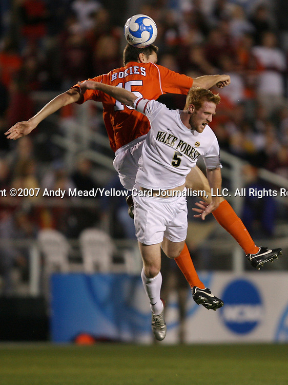 14 December 2007: Wake Forest's Pat Phelan (5) and Virginia Tech's Robert Edmans (ENG) (15). The Wake Forest University Demon Deacons defeated the Virginia Tech University Hokies 2-0 at SAS Stadium in Cary, North Carolina in a NCAA Division I Mens College Cup semifinal game.