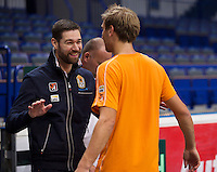 29-01-2014,Czech Republic, Ostrava,  Cez Arena, Davis-cup Czech Republic vs Netherlands, practice, Fysio Edwin Visser is joking with Thiemo de Bakker(NED)<br /> Photo: Henk Koster