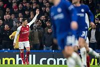 Alexis Sanchez of Arsenal throws his gloves in frustration during the Carabao Cup semi final 1st leg match between Chelsea and Arsenal at Stamford Bridge, London, England on 10 January 2018. Photo by Andy Rowland.