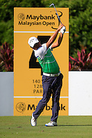 Danny Chia (MAS) on the 4th tee during Round 3 of the Maybank Malaysian Open at the Kuala Lumpur Golf & Country Club on Saturday 7th February 2015.<br /> Picture:  Thos Caffrey / www.golffile.ie