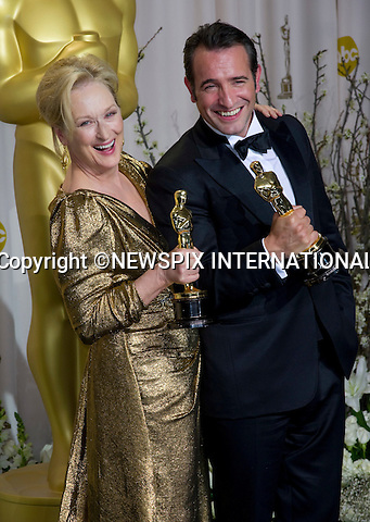 "MERYL STREEP AND JEAN DUJARDIN.Meryl winner of the Best Actress Award for her role in the ""Iron Lady""  and Jean winner of the Best Actor Award for his role in ""The Artist"" at the 84th Academy Awards, Kodak Theatre, Hollywood, Los Angeles_26/02/2012.Mandatory Photo Credit: ©Dias/Newspix International..**ALL FEES PAYABLE TO: ""NEWSPIX INTERNATIONAL""**..PHOTO CREDIT MANDATORY!!: NEWSPIX INTERNATIONAL(Failure to credit will incur a surcharge of 100% of reproduction fees)..IMMEDIATE CONFIRMATION OF USAGE REQUIRED:.Newspix International, 31 Chinnery Hill, Bishop's Stortford, ENGLAND CM23 3PS.Tel:+441279 324672  ; Fax: +441279656877.Mobile:  0777568 1153.e-mail: info@newspixinternational.co.uk"