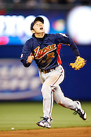 Munemori Kawasuki of Japan during World Baseball Championship at Angel Stadium in Anaheim,California on March 14, 2006. Photo by Larry Goren/Four Seam Images