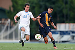 29 August 2014: North Carolina's Alex Olofson (28) and Cal's Stefano Bonomo. The University of North Carolina Tar Heels hosted the University of California Bears at Fetzer Field in Chapel Hill, NC in a 2014 NCAA Division I Men's Soccer match. North Carolina won the game 3-1.