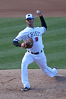 Syracuse Chiefs relief pitcher Cory VanAllen #19 delivers a pitch during the opening game of the International League season against the Rochester Red Wings at Alliance Bank Stadium on April 5, 2012 in Syracuse, New York.  Rochester defeated Syracuse 7-4.  (Mike Janes/Four Seam Images)