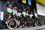 Edvald Boasson Hagen (NOR) and Team Dimension Data on stage at the team presentation before Stage 1 of the Criterium du Dauphine 2019, running 142km from Aurillac to Jussac, France. 9th June 2019<br /> Picture: ASO/Alex Broadway | Cyclefile<br /> All photos usage must carry mandatory copyright credit (© Cyclefile | ASO/Alex Broadway)