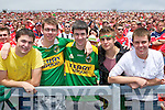 Kieran Moriarty, Tralee, Brian o?g Cabla, Tralee, Peter Luddy, Tralee, Chris Reilly, Casheens, Killarney, Rory Coffee, Tralee Kerry fans at the Munster Senior Football Final in Fitzgerald Stadium in Killarney on Sunday.