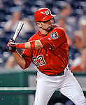 21 June 2008: Washington Nationals' catcher Wil Nieves in action against the Texas Rangers at Nationals Park in Washington, DC. The Rangers defeated the Nationals 13-3 in the second game of their 3-game inter-league series...Mandatory Photo Credit: Ed Wolfstein Photo