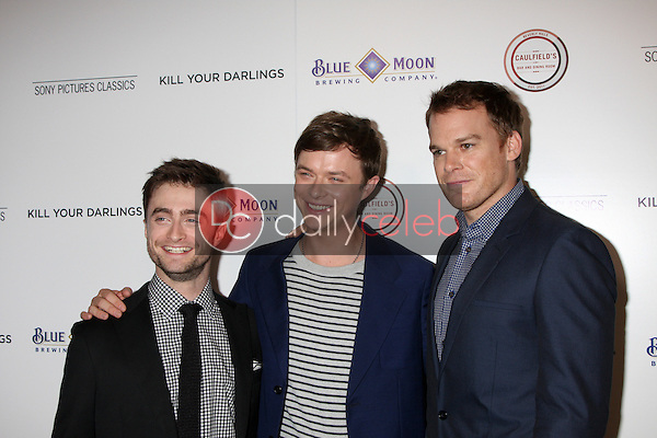 """Daniel Radcliffe, Dane DeHaan, Michael C. Hall<br /> at the """"Kill Your Darlings"""" Premiere, Writers Guild Theater, Beverly Hills, CA 10-03-13<br /> David Edwards/DailyCeleb.Com 818-249-4998"""