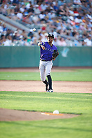 Julio Carreras (2) of the Grand Junction Rockies during the game against the Ogden Raptors at Lindquist Field on June 14, 2019 in Ogden, Utah. The Raptors defeated the Rockies 12-0. (Stephen Smith/Four Seam Images)