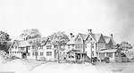 Pittsburgh PA:  View of an Ingham, Boyd and Pratt Architect's rendering of the Pennsylvania College for Women's new Dormitory - 1947.  Pennsylvania College for Women changed it's name in 1955 to Chatham College.