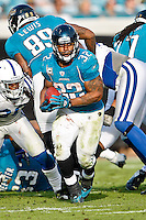 January 01, 2012: Jacksonville Jaguars running back Maurice Jones-Drew (32) runs for yardage during second half action between the Jacksonville Jaguars and the Indianapolis Colts played at EverBank Field in Jacksonville, Florida.  Jacksonville defeated Indianapolis 19-13........