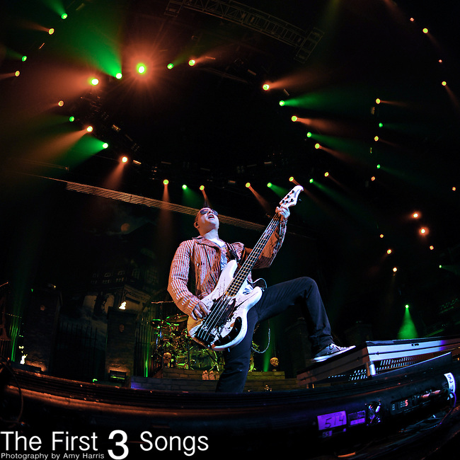 Bassist Johnny Christ (aka Jonathan Seward) of Avenged Sevenfold performs at The Uproar Festival at Nationwide Arena in Columbus, OH on August 24, 2010.