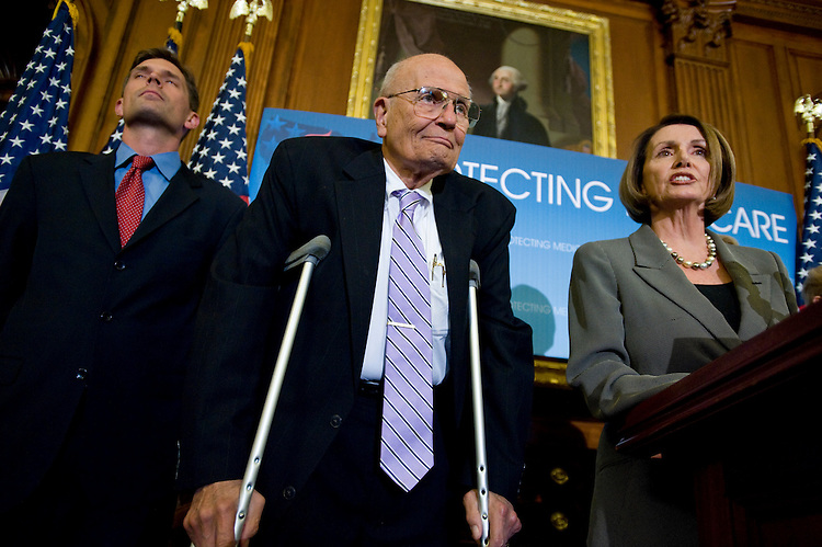 WASHINGTON, DC - Sept. 30: Rep. Martin Heinrich, D-N.M., Rep. John D. Dingell, D-Mich., and House Speaker Nancy Pelosi, D-Calif., during a news conference on health care reform and senior citizens. (Photo by Scott J. Ferrell/Congressional Quarterly)