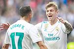 Real Madrid's Toni Kroos (r) and Lucas Vazquez celebrate goal during La Liga match.December 09,2017. (ALTERPHOTOS/Acero)