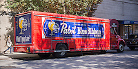 A beer distributor's truck delivering Pabst Blue Ribbon beer as well as other beverages is seen in the New York neighborhood of Chelsea on Friday, September 2, 2014.  Pabst Blue Ribbon has become a popular drink among the hipster population. (© Richard B. Levine)