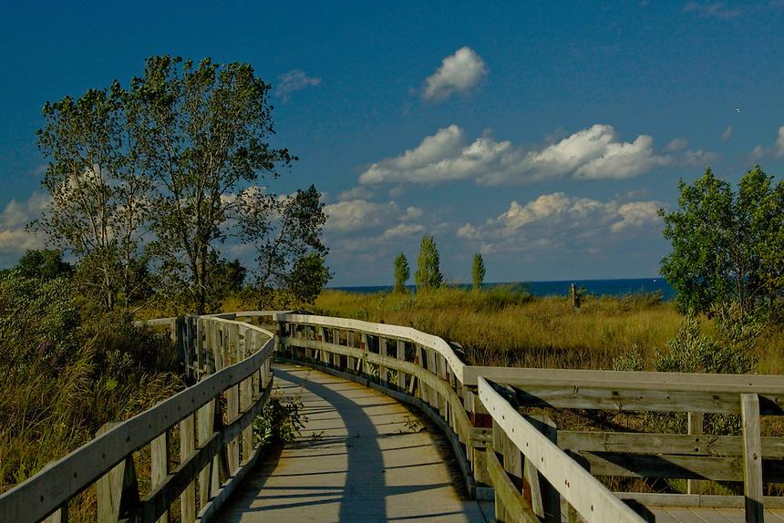 Sand dune area along Lake Michigan of Hosah Park Zion Illinois.