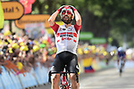 Thomas De Gendt (BEL) Lotto-Soudal from the breakaway can't believe it as he wins Stage 8 of the 2019 Tour de France running 200km from Macon to Saint-Etienne, France. 13th July 2019.<br /> Picture: ASO/Alex Broadway | Cyclefile<br /> All photos usage must carry mandatory copyright credit (© Cyclefile | ASO/Alex Broadway)