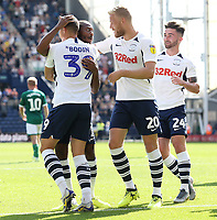 Preston North End's Daniel Johnson (Ctr) celebrates with team-mates Billy Bodin, Jayden Stockley and Sean Maguire after scoring the opening goal from the penalty spot<br /> <br /> Photographer Rich Linley/CameraSport<br /> <br /> The EFL Championship - Preston North End v Sheffield Wednesday - Saturday August 24th 2019 - Deepdale Stadium - Preston<br /> <br /> World Copyright © 2019 CameraSport. All rights reserved. 43 Linden Ave. Countesthorpe. Leicester. England. LE8 5PG - Tel: +44 (0) 116 277 4147 - admin@camerasport.com - www.camerasport.com