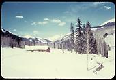 Cabin in snow near Coal Bank Pass.<br /> near Coal Bank Pass, CO