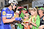 Niki Terpstra (NED) Quick-Step Floors with fans at sign on before the start of Stage 14 of the 2018 Tour de France running 188km from Saint-Paul-Trois-Chateaux to Mende, France. 21st July 2018. <br /> Picture: ASO/Pauline Ballet | Cyclefile<br /> All photos usage must carry mandatory copyright credit (&copy; Cyclefile | ASO/Pauline Ballet)