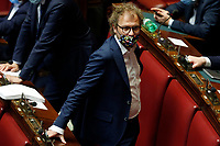 Deputies wearing colored masks, some with symbols of their parties, some with flags of their regions, or simply matched with their clothes at the Chamber of Deputies, during the final vote on the Justice Decree. In the picture Luca Lotti. Rome (Italy), June 25th 2020<br />