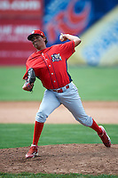 Williamsport Crosscutters pitcher Luis Gonzalez #17 during a NY-Penn League game against the Batavia Muckdogs at Dwyer Stadium on August 26, 2012 in Batavia, New York.  Batavia defeated Williamsport 7-1.  (Mike Janes/Four Seam Images)