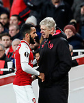 Arsenal's Arsene Wenger with Theo Walcott during the Europa League Group H match at The Emirates Stadium, London. Picture date: December 7th 2017. Picture credit should read: David Klein/Sportimage