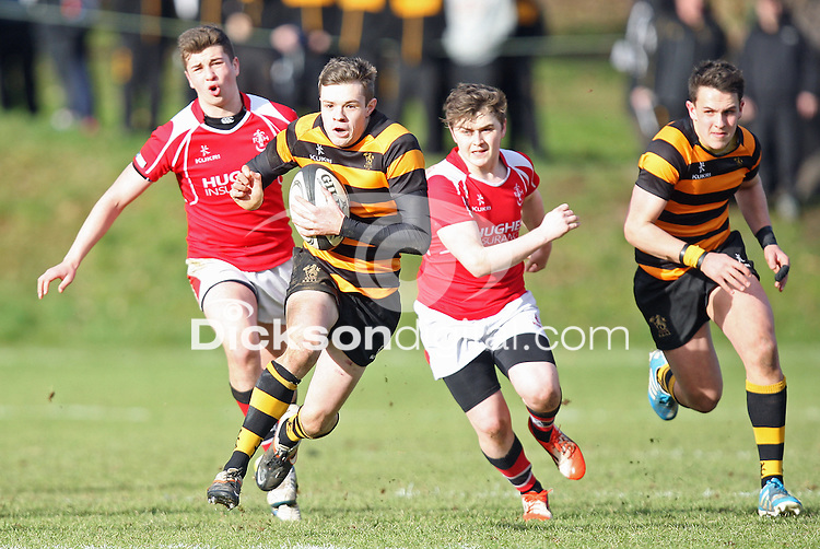 SCHOOLS CUP 2015  | Saturday 7th February 2015<br /> <br /> Callum McLaughlin makes a break during the third round of the 2015 Ulster Schools Cup between RBAI and Regent House at Osborne Park, Belfast.<br /> <br /> Picture credit: John Dickson / DICKSONDIGITAL
