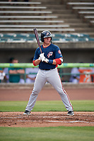 Potomac Nationals catcher Jakson Reetz (12) at bat during the first game of a doubleheader against the Lynchburg Hillcats on June 9, 2018 at Calvin Falwell Field in Lynchburg, Virginia.  Lynchburg defeated Potomac 5-3.  (Mike Janes/Four Seam Images)