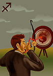 Businessman aiming a target with bow and arrow