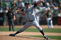 OAKLAND, CA - AUGUST 15:  Nick Vincent #50 of the Seattle Mariners pitches against the Oakland Athletics during the game at the Oakland Coliseum on Wednesday, August 15, 2018 in Oakland, California. (Photo by Brad Mangin)
