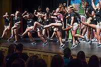 Orientation 2018: General Assembly for incoming students and their parents in Lee Hall's Bettersworth Auditorium. Orientation Leaders perform skit on stage.<br />  (photo by Megan Bean / &copy; Mississippi State University)