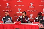 19 November 2010: From left: head coach Gary Smith, Pablo Mastroeni, Omar Cummings. The Colorado Rapids held a press conference at BMO Field in Toronto, Ontario, Canada as part of their preparations for MLS Cup 2010, Major League Soccer's championship game.