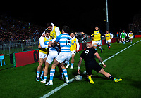 The Pumas celebrate Argentina's Ramiro Moyano's try during the Rugby Championship match between the New Zealand All Blacks and Argentina Pumas at Trafalgar Park in Nelson, New Zealand on Saturday, 8 September 2018. Photo: Dave Lintott / lintottphoto.co.nz