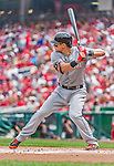 30 August 2015: Miami Marlins outfielder Derek Dietrich in action against the Washington Nationals at Nationals Park in Washington, DC. The Nationals rallied to defeat the Marlins 7-4 in the third game of their 3-game weekend series. Mandatory Credit: Ed Wolfstein Photo *** RAW (NEF) Image File Available ***