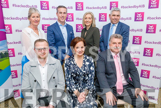 Attending the Insights and Marketing Trends in Tourism, Retail and Hospitality in the Ballygarry House Hotel on Monday. <br /> Seated l to r: Ken Tobin (CEO Tralee Chamber of Alliance), Tina O'Dwyer (The Tourism Space) and Sean Healy (AIB Kerry).<br /> Back l to r: Josephine O'Driscoll (Failte Ireland), Padraig McGillicuddy (Ballygarry House Hotel), Sandra Rusk (Waredrobe Tralee and Killarney) and Stephen Stack (AIB Tralee).