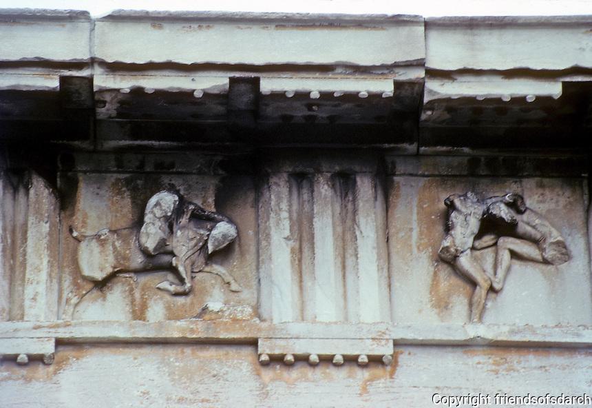 Athens: Detail--Frieze of Temple of Hephaestus. Depicts adventures of Theseus. Architect Ictinos, 5th Century B.C.  Photo '82.
