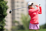 Natalie Gulbis tees off during the World Celebrity Pro-Am 2016 Mission Hills China Golf Tournament on 22 October 2016, in Haikou, China. Photo by Victor Fraile / Power Sport Images
